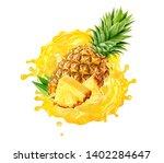 Fresh Ripe Pineapple  Slice An...