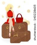 girl traveler sitting on a... | Shutterstock .eps vector #140228605