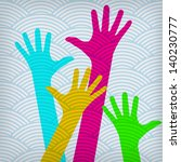 happy colorful hands on the... | Shutterstock .eps vector #140230777