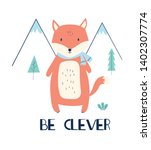 hand drawing clever fox vector... | Shutterstock .eps vector #1402307774