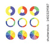 set of colorful info piecharts  ... | Shutterstock .eps vector #1402329587
