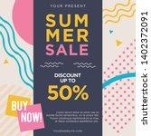 summer sale memphis design card   Shutterstock .eps vector #1402372091