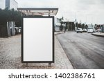 city bus stop on with an empty... | Shutterstock . vector #1402386761