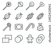 sweets and candy icon set line...