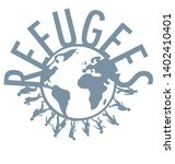 refugee word concept around the ...   Shutterstock .eps vector #1402410401