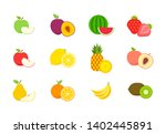 big set of fruits and berries.... | Shutterstock .eps vector #1402445891