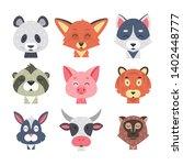 cute animal faces vector set....   Shutterstock .eps vector #1402448777