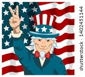 uncle sam shows hand victory... | Shutterstock .eps vector #1402451144