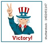 uncle sam shows hand victory... | Shutterstock .eps vector #1402451147