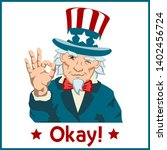uncle sam shows hand gesture ok ... | Shutterstock .eps vector #1402456724