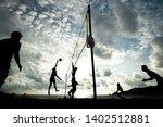 beach volleyball team playing... | Shutterstock . vector #1402512881