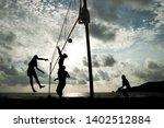 beach volleyball team playing... | Shutterstock . vector #1402512884