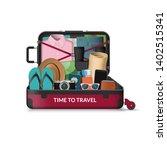 opened travel suitcase. summer... | Shutterstock .eps vector #1402515341