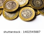 A Pile Of Two Pound Coins.
