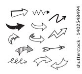 set of arrow doodle on white... | Shutterstock .eps vector #1402548494