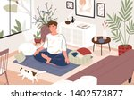 cute guy or boy sitting cross... | Shutterstock .eps vector #1402573877