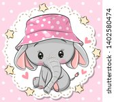 cute cartoon elephant in a pink ... | Shutterstock .eps vector #1402580474