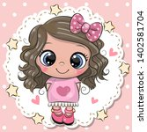cute cartoon baby girl with...   Shutterstock .eps vector #1402581704