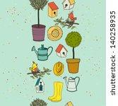 garden seamless pattern with... | Shutterstock .eps vector #140258935