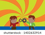 young couple sharing gear. man...   Shutterstock .eps vector #1402632914