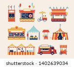 amusement park kiosks  carts ... | Shutterstock .eps vector #1402639034