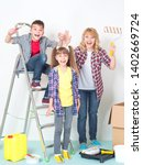 young family ready to makes... | Shutterstock . vector #1402669724