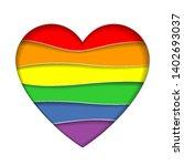 paper heart rainbow background. ... | Shutterstock .eps vector #1402693037