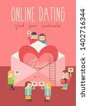 online dating poster. cute... | Shutterstock .eps vector #1402716344