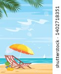 tropical beach and sea flat... | Shutterstock .eps vector #1402718351