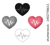 red heart with pulse.the heart... | Shutterstock .eps vector #1402758611
