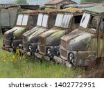 A Line Of Abandoned Rusting...