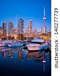 View of Toronto Yacht Club at Toronto harbor area during sunset - stock photo