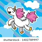 cute sweet unicorn kawaii... | Shutterstock .eps vector #1402789997