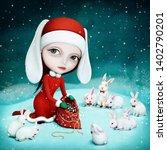 fantasy winter holiday greeting ... | Shutterstock . vector #1402790201