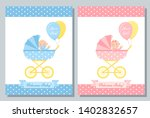 baby shower card. vector. baby... | Shutterstock .eps vector #1402832657