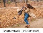 Happy Family Walking In Autumn...