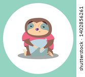 colorful cute cartoon sloth... | Shutterstock .eps vector #1402856261