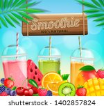 fresh fruit and berry smoothies ...   Shutterstock .eps vector #1402857824