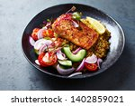 roasted salmon fillet with... | Shutterstock . vector #1402859021
