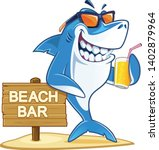 Shark With Sunglasses Holding...