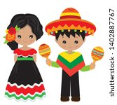 mexican children vector cartoon ... | Shutterstock .eps vector #1402887767