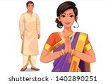 illustration of indian couple... | Shutterstock .eps vector #1402890251