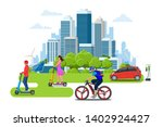 electric scooter on the road.... | Shutterstock .eps vector #1402924427