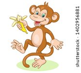 funny happy monkey dancing with ... | Shutterstock .eps vector #1402956881