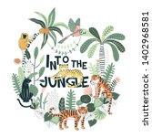 exotic tropical wildlife... | Shutterstock .eps vector #1402968581