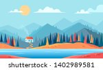 autumn colour mountains nature... | Shutterstock .eps vector #1402989581