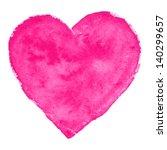 Watercolor  Pink Heart  Vector...
