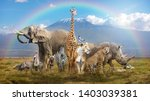 Large group of african wildlife ...