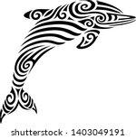 dolphin tattoo tribal stylised... | Shutterstock .eps vector #1403049191