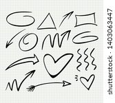 hand drawn arrow set   vector...   Shutterstock .eps vector #1403063447